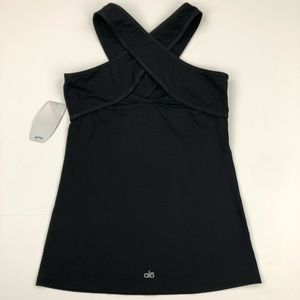 Alo Oragami tank top Cool Fit black Size Large NWT